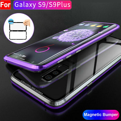 Magnetic Adsorption Metal Luxury Case For Samsung Galaxy S9 Plus+Tempered Glass