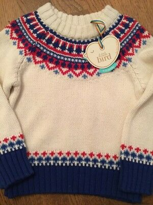 Little Bird By Jools Oliver Boys Age 9-12 Mths Knitted Boys Jumper * Bnwt *