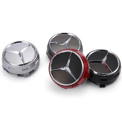 75mm /3INCH BLACK WHEEL BADGE CENTER CAPS FOR MERCEDES BENZ CLA45 4pcs/set
