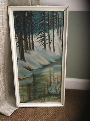 Large Antique Oil Painting on Wood Panel Snowy Woods dated 1928