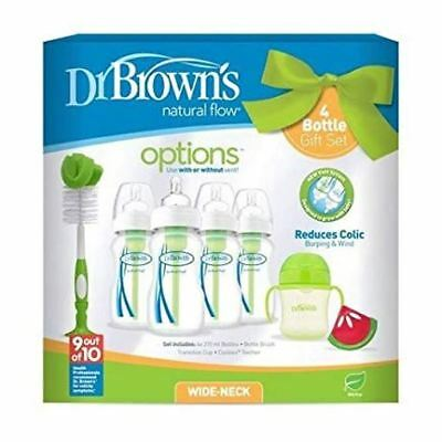 Dr Browns Natural Flow Anti-Colic Vent Bottle, Trainer Cup and Teether Set Green