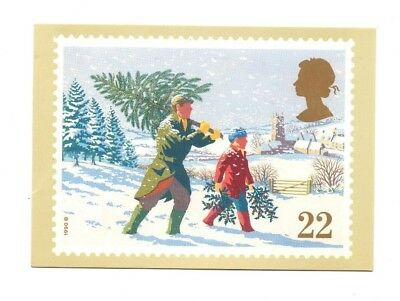 Royal Mail Stamp Card - Christmas 1990, Bringing Home The Tree - PHQ 131b