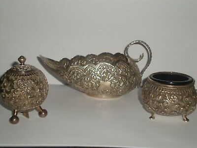ANTIQUE  VICTORIAN STERLING SILVER ANGLO INDIAN 3 peice cruet set