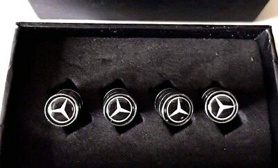 MERCEDES Tyre Valve Dust Caps 4 x Chrome in gift box
