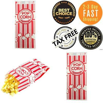 Carnival King Paper Popcorn Bags 1 OZ Red & White 100 Piece Disposable Container