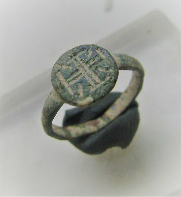 Superb Byzantine Era Crusaders Seal Ring With Cross Motif On Bezel