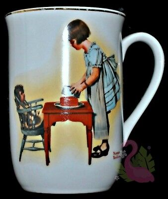 Vintage 1981 NORMAN ROCKWELL Coffee Mug Party Time Tea Cup Porcelain Tea Party