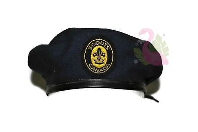 SCOUTS CANADA Official Beret Junior Small 53cm Navy Blue Hat Golden Logo
