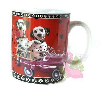 TRAVEL DOGS Dalmations 16oz Coffee Mug Porcelain Tea Cup Valentines Day Gift