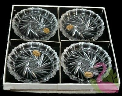 Vintage Set of 4 BOHEMIA Crystal Nuts Dish Snack Bowls Made in Czechoslovakia