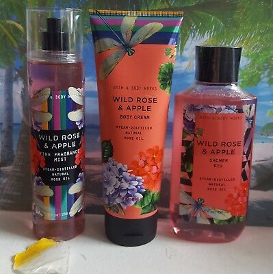bath and body works wild rose & apple shower gel body cream fine fragrance mist