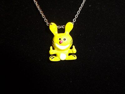 "Jim Benton Happy Bunny Charm Pendant Necklace Yellow ""THUMBS UP""  Metal 3/4"""