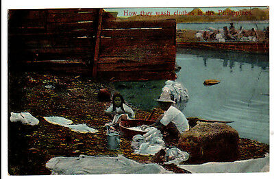 "1910s WWI Era RPPC Postcard ""How they wash clothes in the Philippines"""