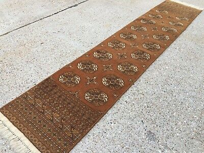 Narrow Runner Antique Persian rug upcycled, shabby chic, country house 305x60 cm