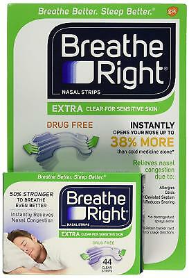 Breathe Right Nasal Strips Extra Clear for Sensitive Skin 44 Clear Strips