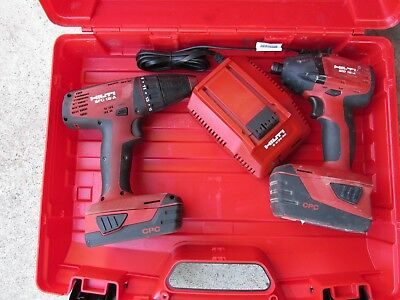 Hilti SID 18-A & SFC18-A combination tool kit  w/case & 2 batteries  NICE (752)