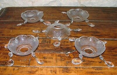 Vintage French Glass Bobeche Saucer Droplets Beads Chandelier Part x 1