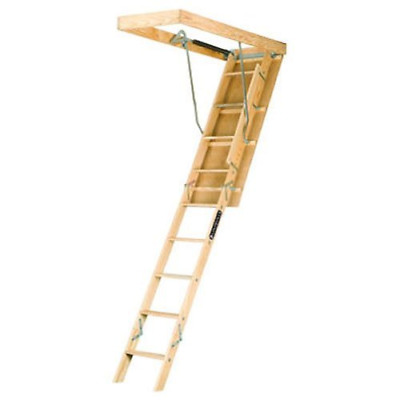 Pull Down Wooden Attic Ladder Folding Stair Way Home Loft 8ft9in To 10ft 250Lb