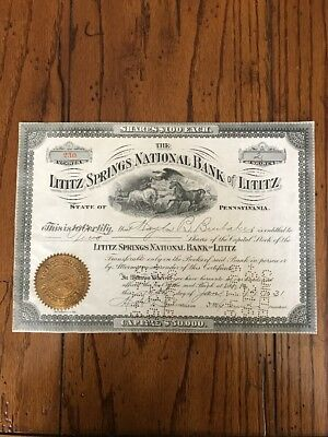 1931 Capital Stock Certificate LITITZ SPRINGS NATIONAL BANK OF LITITZ, PA