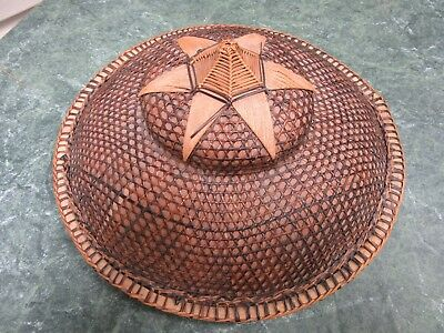 Authentic Filipino ASIAN Bamboo STRAW HAT hand-woven VINTAGE