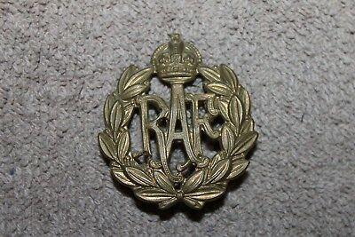 Original WW2 British Royal Air Force 'RAF' Metal Hat Badge w/Prongs