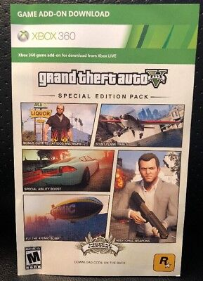 XBOX 360 ✔ GTA V 5 SPECIAL EDITION PACK DLC CARD ✔ add on code bonus content