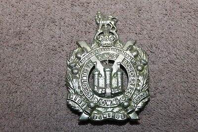 Original WW2 British Army Scottish King's Own Border Metal Hat Badge w/Prongs