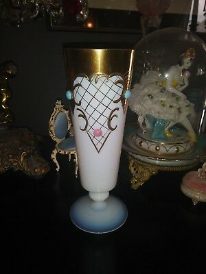 Murano Opaline Glass Italian Jeweled Etched Gold Gilt 9 Inch Tall Flower Vase