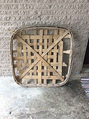 Antique Primitive Handmade Tobacco Basket NEW TAXWELL  X PATTERN Natural band