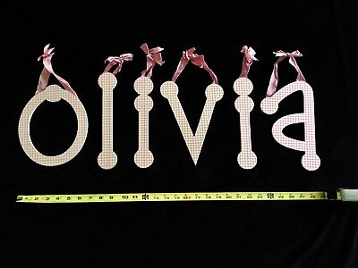 Wall Letters Baby Nursery Girl's Room OLIVIA Pink White Check Shabby Chic