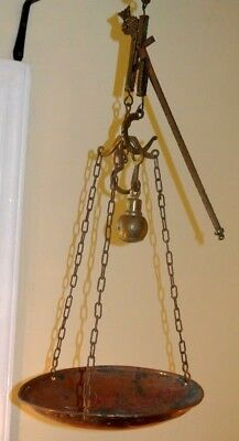 Antique Primitive French Market Scale-Copper Hanging Slide Scale, Brass Hardware