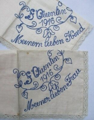 St. QUENTIN 1916 embroidered HANKIES ~ WWI Battle of the Somme, France