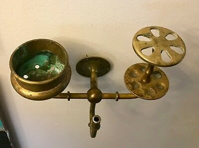 ANTIQUE VTG VICTORIAN BRASS SOAP HOLDER Toothbrush, cup Holder  Wall mounted