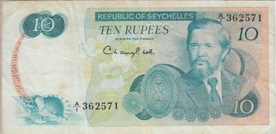 Seychelles Banknote P19-2571 10 Rupees, F-VF