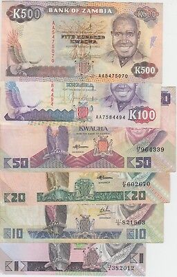 Zambia Banknote 6 Different Older Notes