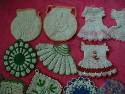 lot 11 vintage crochet potholders crocheted colorful assortment pink red blue