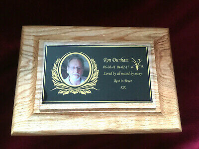 Decorative Solid Oak Ashes Casket Wooden Funeral Urns for Adult. Personalised.