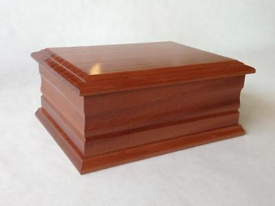 Double Mahogany Wooden Funeral Urns for Ashes, Adult Casket. Personalised Plaque