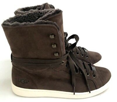 f568b120ccf UGG STARLYN CHOCOLATE Sheepskin, Soft Leather Lace-up Booties Women's Size  6.5