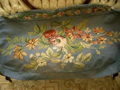 2 0f 2 SUPERB LG HANDMADE Antique Vtg AUBUSSON TAPESTRY SETTEE COUCH BENCH COVER