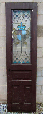 ~ ANTIQUE AMERICAN STAINED GLASS DOOR OAK ~ 23 x 82 ~ ARCHITECTURAL SALVAGE ~