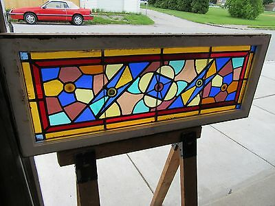 ~ Antique American Stained Glass Transom Window  ~ 48 X 19 ~  Salvage