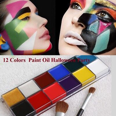 Professional 12 Colors Face Body Paint Oil Painting Art Christmas Party Kit Set