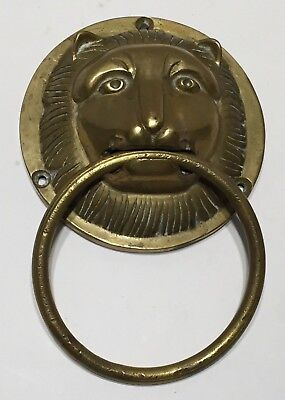Vintage Solid Brass Lion Head Towel Holder Ring Large Face Thick Heavy Duty