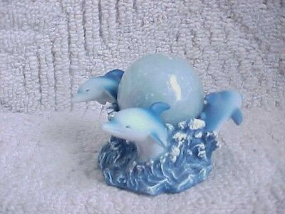 Dolphin Candle Holder witn unused sealed candle 1980's