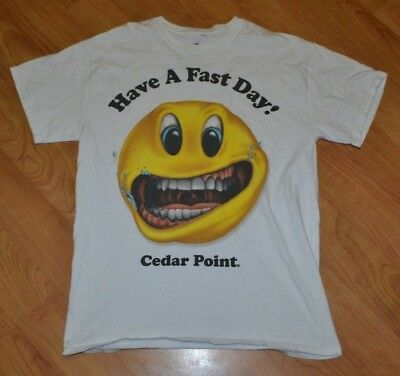 Cedar Point Have A Fast Day T Shirt Medium Amusement Park Sandusky OH Smiley