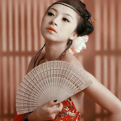Chinese Wooden Bamboo Folding Hand Fan Wedding Party Flower Pattern Vintage