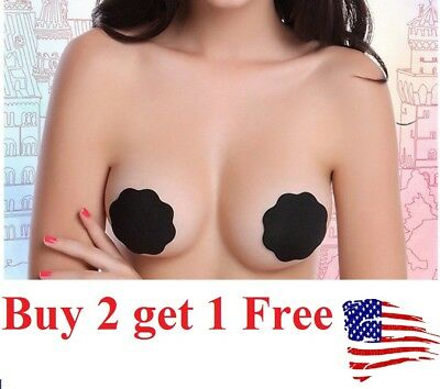 US Womens Reusable Adhesive Silicone Breast Bra Petal Nipple Cover Pad Pasties