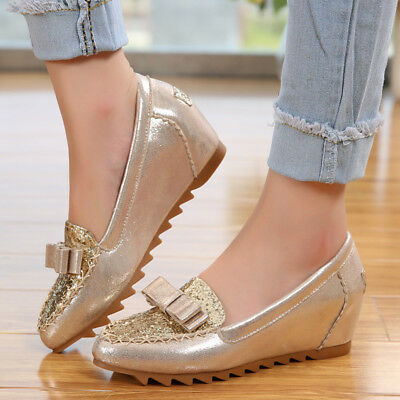 Women's Casual PU Leather Pumps Shoes Sequins Wedge Heel Bowknot Pull On Plus Sz