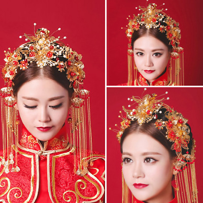 Chinese Gold Wedding Tiaras Beads Crowns Clips Bridal Headpiece Earrings Set New